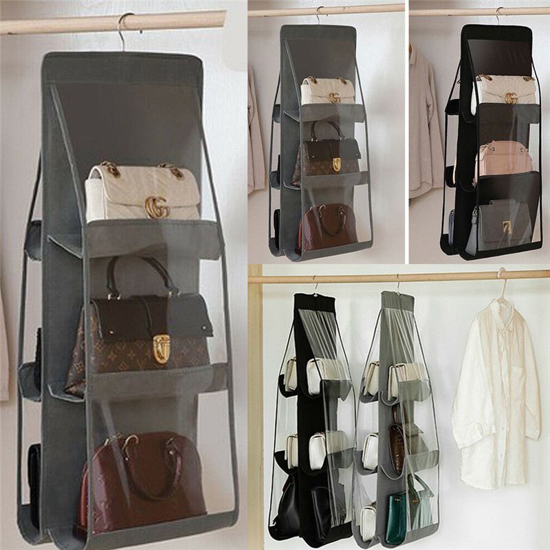 6 Pocket Folding Hanging Large Handbag Purse Storage Holder Anti-dust  Travel Organizer Bags
