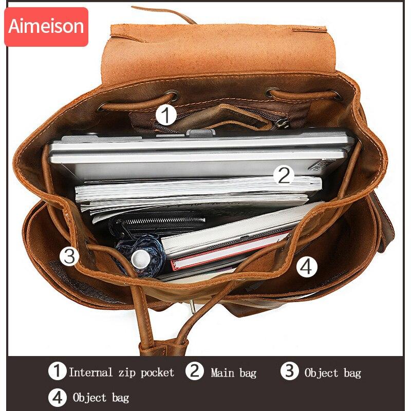 Semplice Patchwork di Grande Capacità Mens di Cuoio Zaino Per Il Viaggio casual mochila Uomini Daypacks In Pelle Travle Zaino - 4