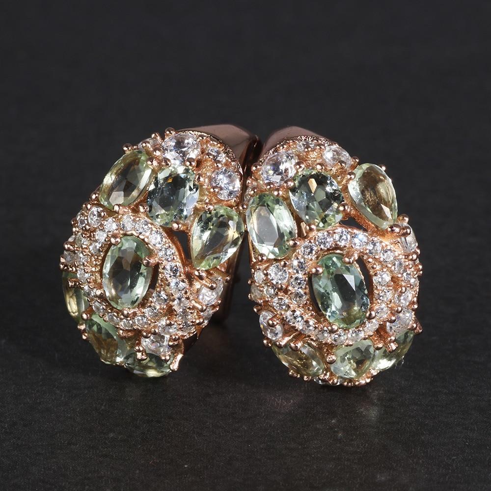 Bijoux fins 925 en argent Sterling pierres précieuses naturelles péridot classique Kpop boucles d'oreilles pour les femmes coréennes bijoux de mode