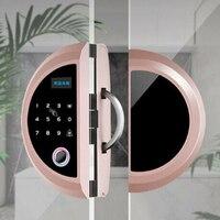 Szklane drzwi zamek elektroniczny pojedyncze drzwi podwójne drzwi inteligentna blokada z użyciem linii papilarnych blokada hasła (róża) w Zamki do drzwi od Majsterkowanie na
