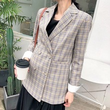 2019 autumn new women's blazer High quality casual double-breasted plaid suit jacket female Office long sleeve coat цена