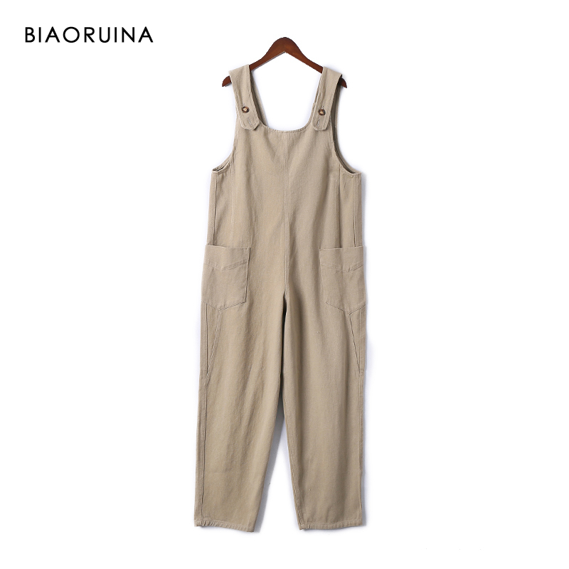 BIAORUINA Women's Safari Style Khaki Solid Denim Overalls with Pockets Female Casual High Waist Loose   Wide     Leg     Pant   Trousers