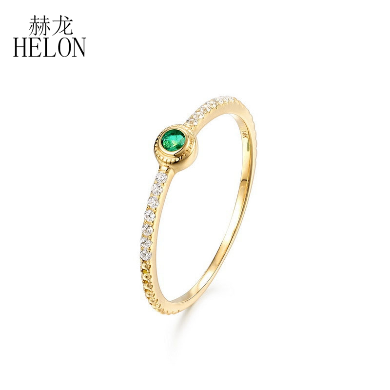 HELON Natural Emerald And Diamond Ring For Women Engagement Wedding Solid 14k Yellow Gold Thin Stacking Minimalist Promise Ring