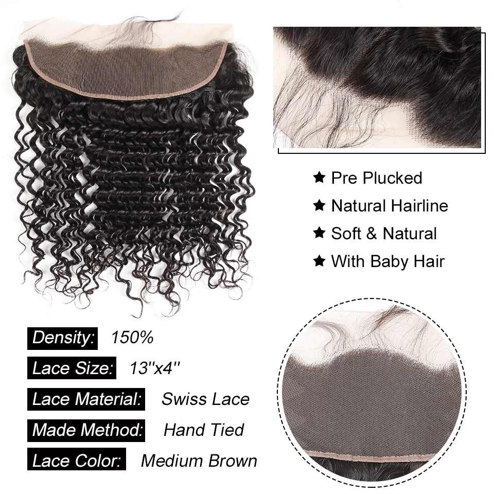 Alipearl Hair Brazilian Virgin Hair Medium Brown/Transparent Deep Wave Human Lace Frontal 13X4 Pre Plucked Free/middle Part