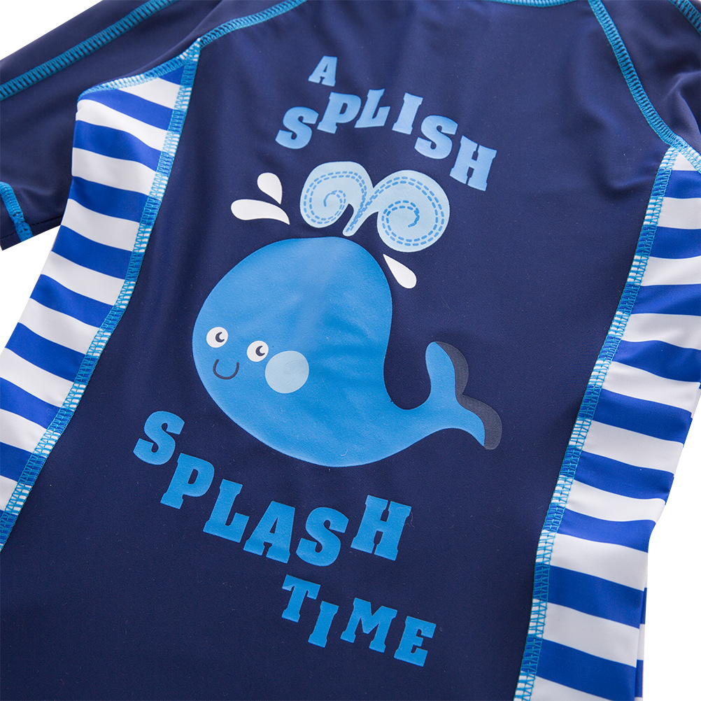 New Style Japanese Korean KID'S Swimwear Boys' Cotton One-piece Swimsuit Cartoon Whale Swimwear Beach Sun-resistant Swimming Cap