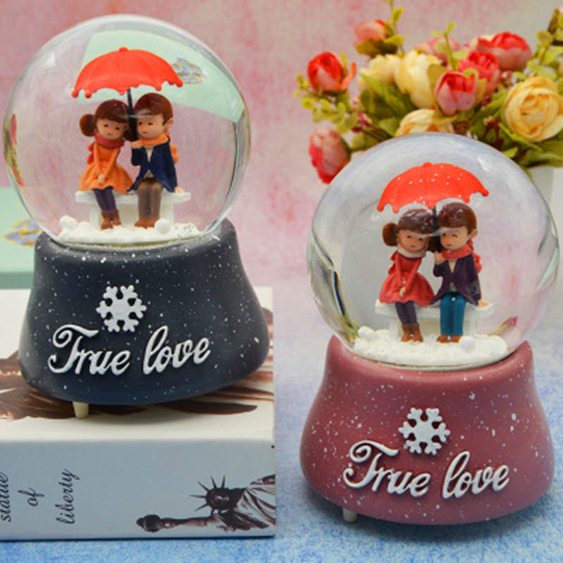 LORONZ Lovers Musical Snow Globes Novelty Night Light Musical Snow Globe Music Box Ornament Gift for Christmas Valentine's Day