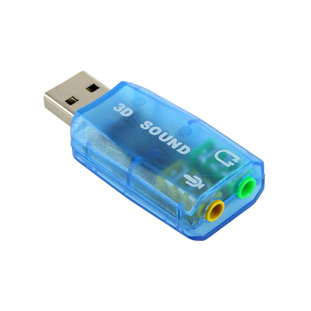 Portable Compact 3D Audio Card USB 1.1 Mic / Speaker Adapter 7.1 CH Surround Sound For PC Computer Laptop