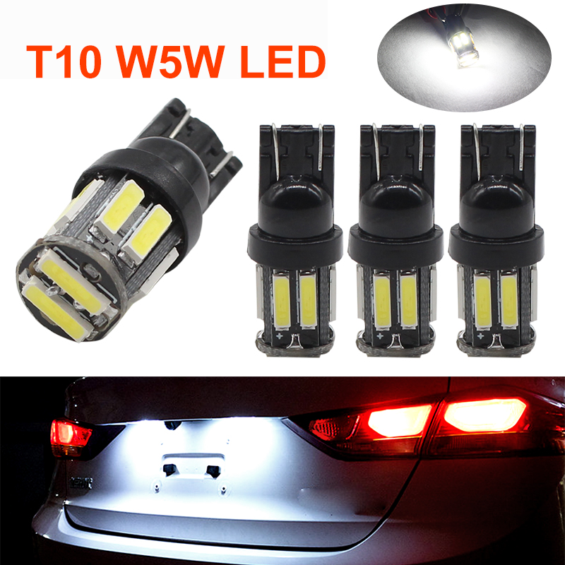 4Pcs Car T10 LED 194 168 Wedge Replacement Reverse Instrument Panel Lamp 10 7020 SMD T10 W5W Led White Clearance Light Bulbs