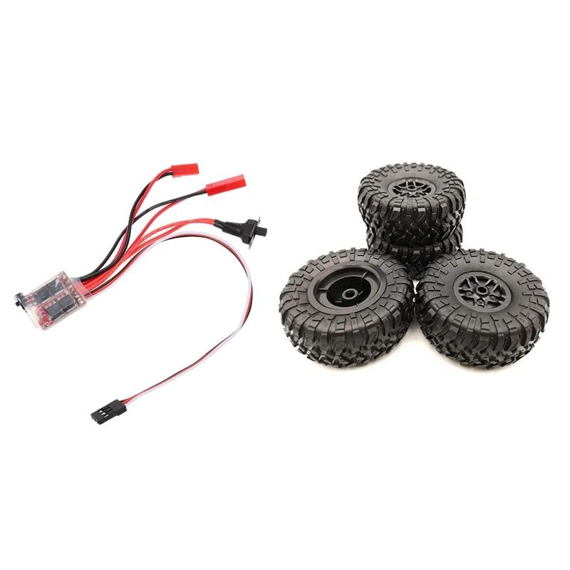 Матовый электронный регулятор скорости мини ESC, 1 А, 30 А, и 4 шт. колесных обода для радиоуправляемых автомобильных шин, подходит для MN D90 D91