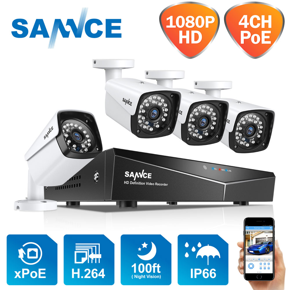 Sannce 1080 p poe kit de vigilância de vídeo 4ch nvr cctv sistema de câmera 4 pçs 2.0 mp 1920*1080 à prova de intempéries cctv câmera de segurança ip
