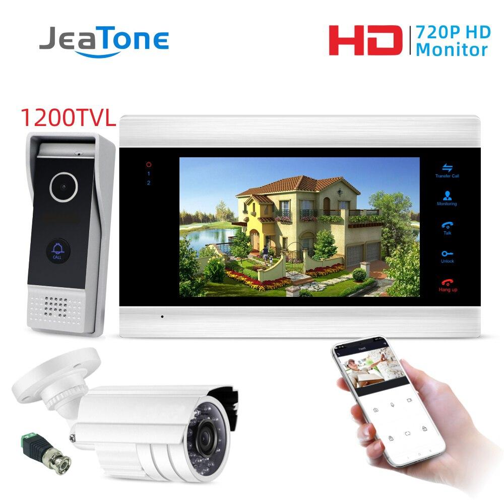 7 Inch Monitor Wired WiFi Smart Video Door Phone Intercom Doorbell Home Security System Door Speaker Call Panel With CCTV Camera