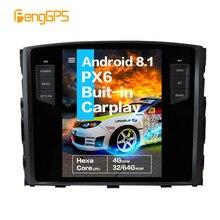 """10,4 """"Tesla Android 8,1 control de voz incorporado CARPLAY Radio del coche para MITSUBISHI PAJERO V97 V93 Shogun Montero 2006-2019 GPS de navegación"""