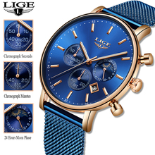 LIGE 2019 Women Fashion Blue Quartz Watch Lady Mesh Watchband High Quality Casual Waterproof Wrist Watch Women Watch Reloj Mujer