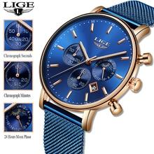LIGE 2019 kobiety modne niebieskie zegarek kwarcowy Lady Mesh Watchband wysokiej jakości dorywczo wodoodporny zegarek na rękę kobiety zegarek Reloj Mujer