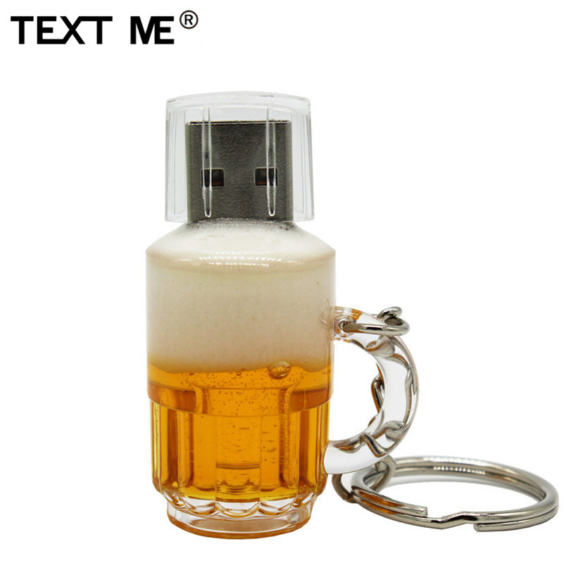 TEXT ME Cool Creative Beer Mug Style Usb2.0 4GB 8GB 16GB Pen Drive USB Flash Drive Creative 32GB  Pendrive Gift U Disk