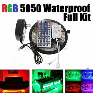 Водонепроницаемая светодиодная лента, 5 м, RGB 5050, SMD, 44Key, 12 В, США, полный комплект