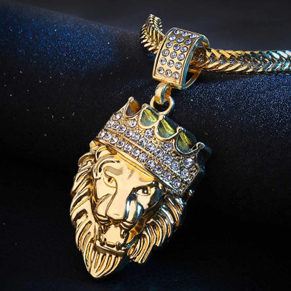 Mens היפ הופ שרשרת מלא אייס מתוך ריינסטון האריה תג תליון קובני שרשרת היפ הופ שרשרת M840 #