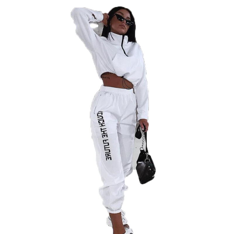 Letter Print Woman Tracksuit 2 Piece Set Workout Clothes Fashion Zipper Long Sleeve Outfits Sporty Active Wear Top And Pants Set
