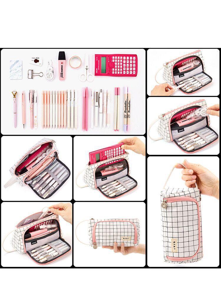 Pencil Bag Canvas Junior Small Large-Capacity Korean Students High-School Simple Fresh