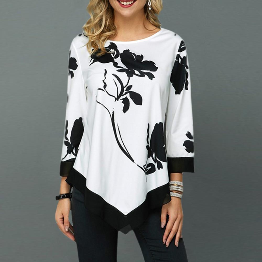 Floral Printed Women Shirt Asymmetric Hem Autumn Blouse Shirt For Woman Flower Print Tops O Neck Blusas Fashion Female Camisa