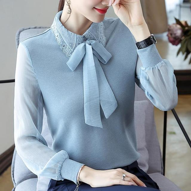 Women's Spring Autumn Style Chiffon Blouses Shirt Women's Bow Long Sleeve Solid Color Korean Elegant Tops DD9028 1