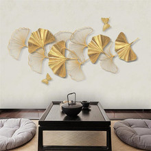 Custom large 3D wallpaper mural new style gold stereo line ginkgo leaf TV sofa background wall free shipping large mural sofa tv background wall custom european style painting wallpaper tulip mural