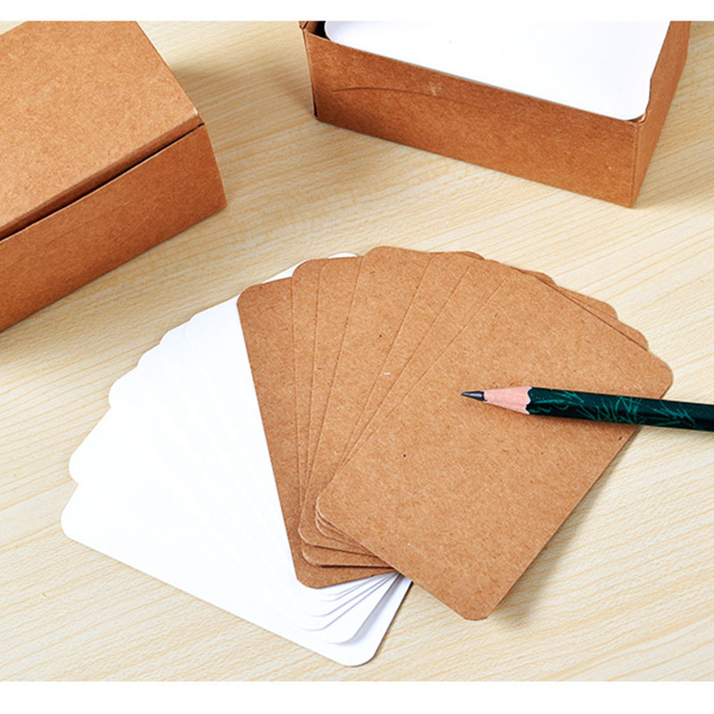100pcs Vintage Blank Card DIY Greeting Cards Graffiti Word Cards Wedding Party Gift Thick Kraft Paper Postcards GK99