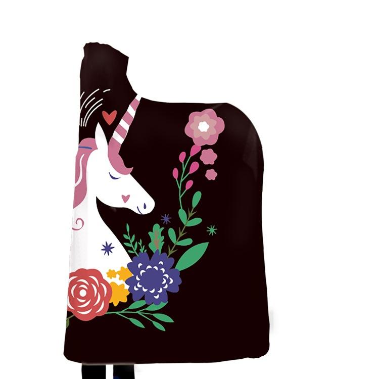 Winter Blanket Sweatshirt Unicorn Cartoon 3D Printed Plush Hooded Blanket for Adults Kid Warm Wearable Fleece Throw Blankets 9