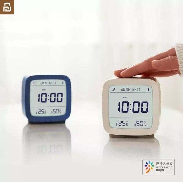 Youpin cleargrass bluetooth digital termômetro de temperatura e umidade monitoramento lcd tela despertador luz da noite