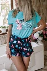 Atoff Home Женская пижама ЖП 022 (розовый/серый/желтый/голубой+принт)
