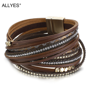 ALLYES Natural Pearl Crystal Genuine Leather Bracelets for Women Boho Multilayer Slim Strips Wide Wrap Bracelet Fashion Jewelry
