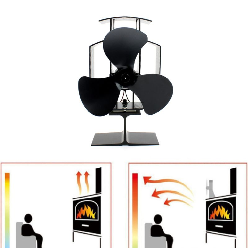 Fireplace Stove Fan 3 Blades Efficient Heat Distribution For Large Room