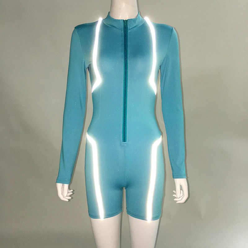Сексуальный спортивный Облегающий комбинезон для женщин Casaul с отражающей отделкой с длинным рукавом комплект с шортами на молнии осенне-зимние комбинезоны для ночного клуба