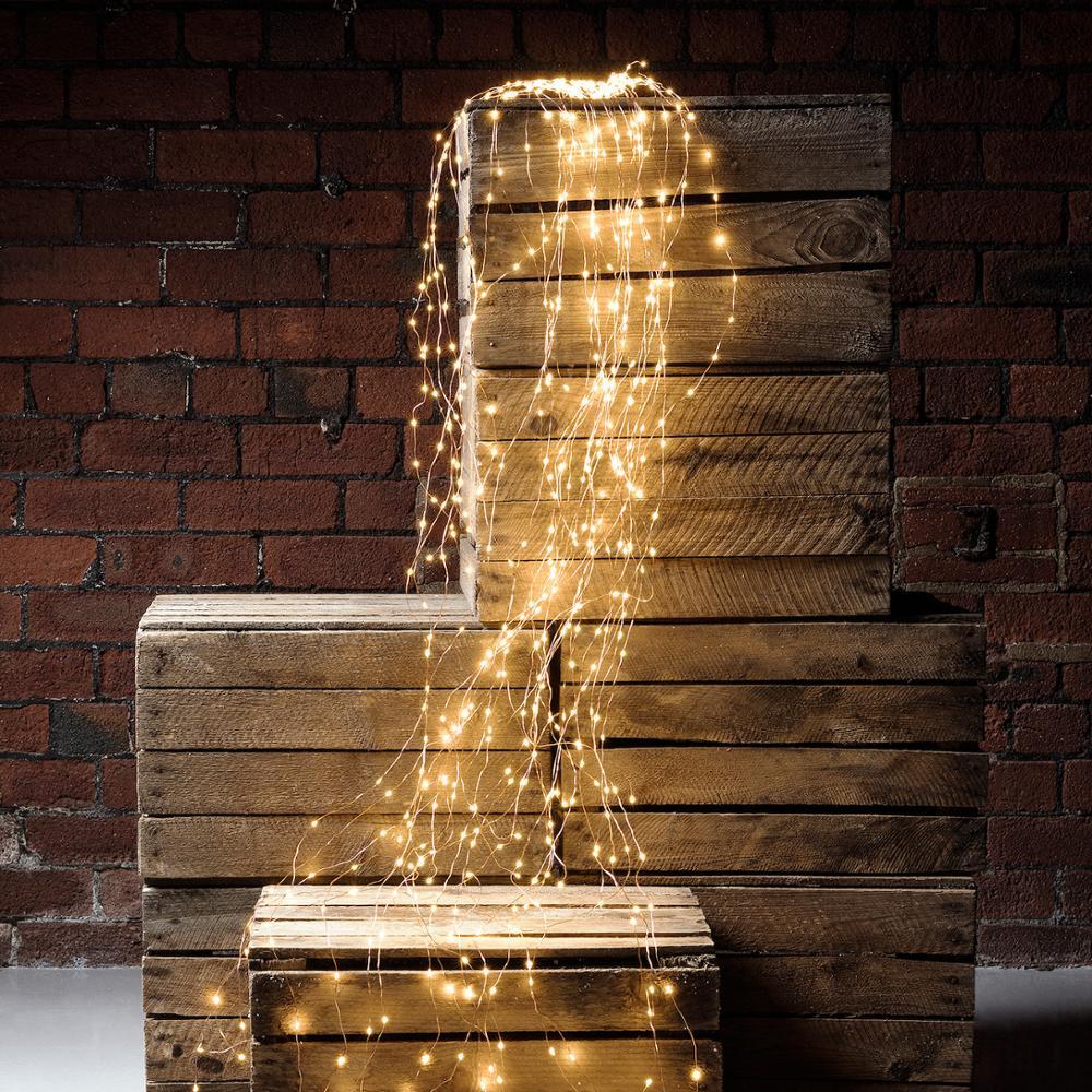 600 светодиодов, огни в виде лозы, медная проволока, ветки, светодиодные сказочные гирлянды, плагин, адаптер для кафе, Рождественская Свадебна...