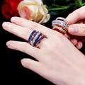 Aglover venda quente novo design multicamadas de luxo zircão cúbico anel para senhoras moda exagerada anel 6789 # jóias casamento