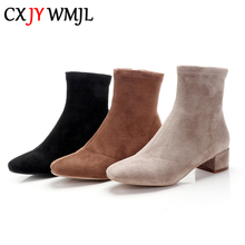 Autumn Ladies Ankle Boots Real Suede Winter Plush Booties High Quality Fashion Women's Boots Thick Heel Martin Boots Warm Shoes