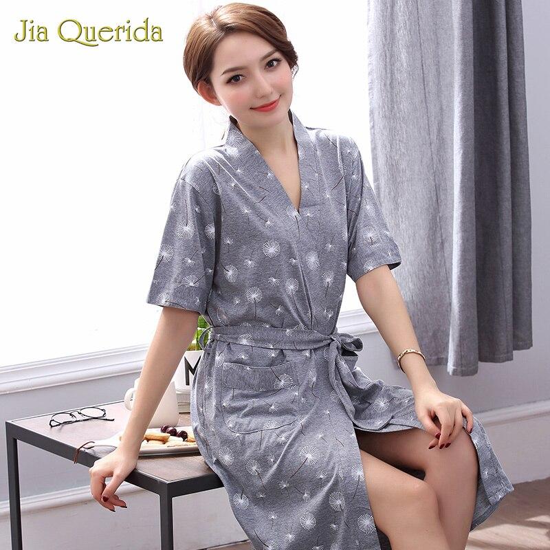 Robes Women Summer Shorts Cotton Bathrobe Plus Size Peignoir Femme Women Sleepwear Pijama Mujer Grey Floral Women Home BathrobeRobes   -