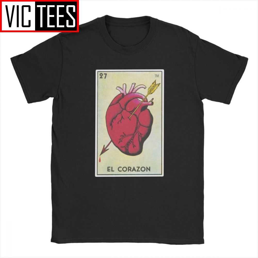 Camisetas de hombre Loteria mexicana Bingo corazón Tarot tarjeta Camiseta de algodón de manga corta corazón Tops regalo