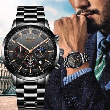 Модные мужские часы LIGE Лидирующий бренд водонепроницаемые спортивные часы хронограф мужские повседневные кварцевые часы из нержавеющей с...