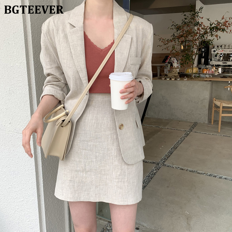 BGTEEVER Summer Cotton And Linen Two-pieces Women Skirt Suit Casual Female Blazer Sets Single-breasted Women Blazer Suit 2020