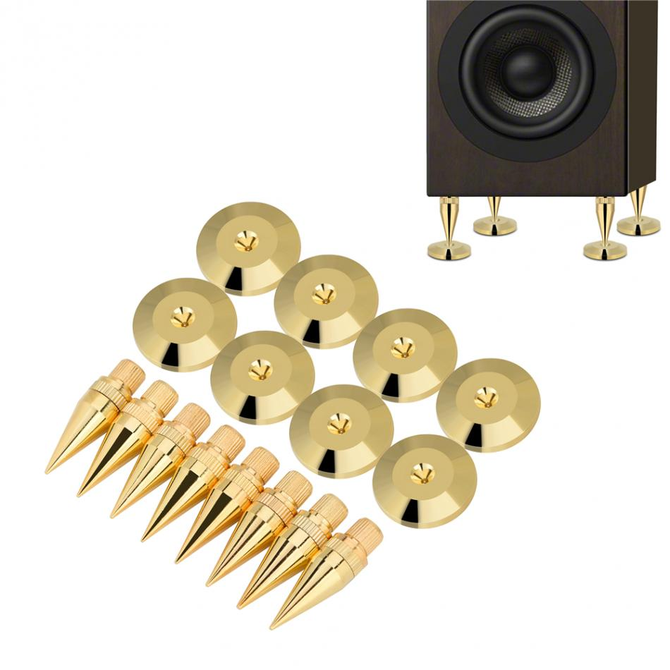 Useful New 8 Pairs 11 X 36Mm Copper Speaker Spike Isolation Stand + Base Pad Feet Mat Speaker Isolation Speaker Isolation Pads