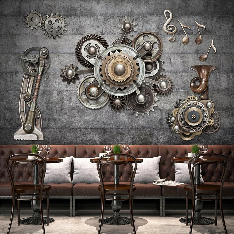 Custom 3D Photo Wallpaper Retro Poster Wall Painting Mechanical Gear Living Room Cafe Bar Restaurant Home Improvement Art Mural
