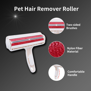 2-Way Pet Hair Remover Roller Lint Sticking Roller Removing Dog Cat Hair from Furniture Carpets Clothing One Hand Operate