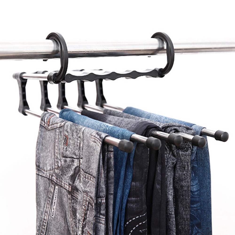 Multifunctional Pants Rack Shelves Stainless Steel Wardrobe Hanger Clothes Belt Holder Home Storage Rack