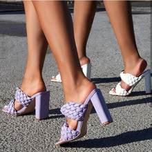 Runway style Summer Weave Women Slippers Fashion Thick High heels Gladiator Sandals Outdoor Beach Slides Ladies Mules Shoes(China)