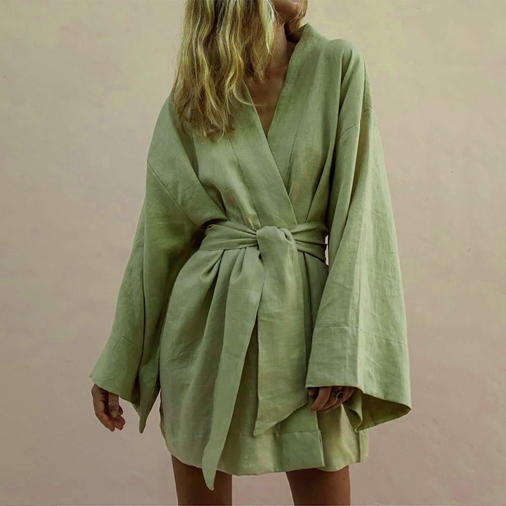 Lace Up Women's V Neck Kimono Cardigan Mini Dress Cotton Linen Long Sleeve Sashes Dresse Robe Style Summer Loose Vestidos