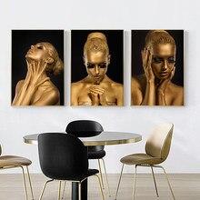 Arte africana preto e ouro mulher pintura da lona escandinavo cartazes impressões cuadros arte da parede fotos para sala de estar decoração