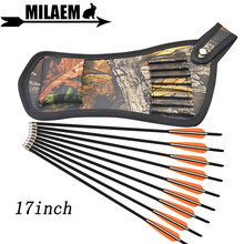 6/12pcs 17inch Archery Carbon Arrow Crossbow Bolts Arrows With Quiver Bag Target Shooting Hunting Bow Accessories