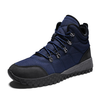 Stylish high-top hiking shoes men's plus size snow boots outdoor leisure canvas casual winter shoes
