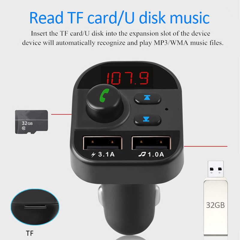 Kit Bluetooth inalámbrico manos libres para coche FM Transmisor coche MP3 Radio Adapter 2 USB cargador FM modulador accesorios para coche